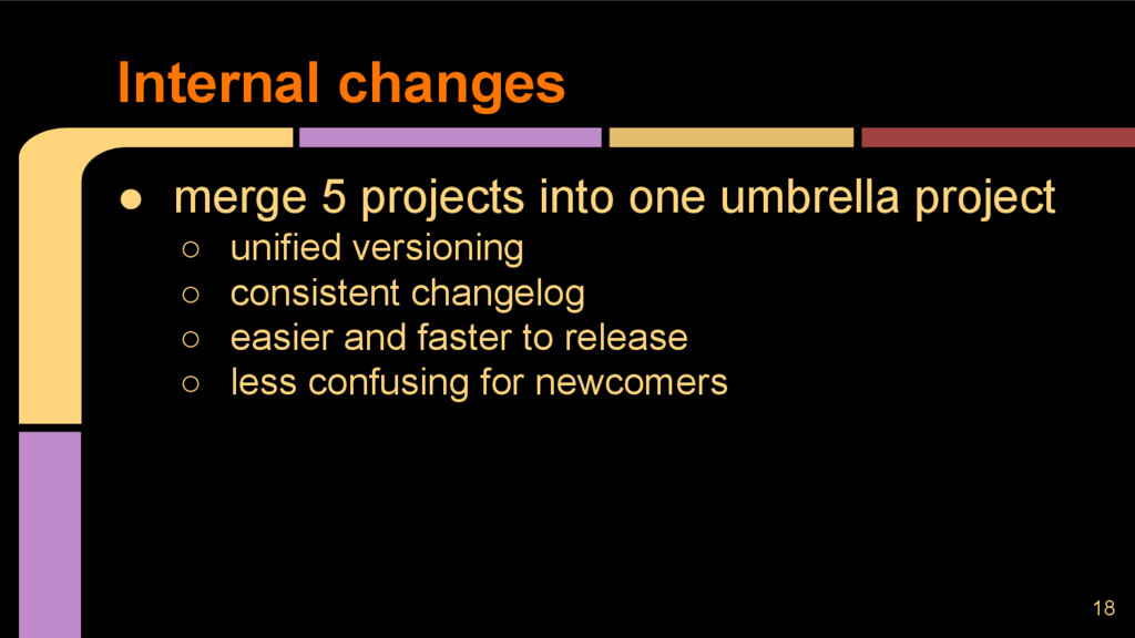 ● merge 5 projects into one umbrella project ○ ...