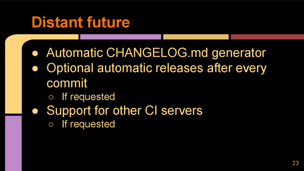 ● Automatic CHANGELOG.md generator ● Optional a...