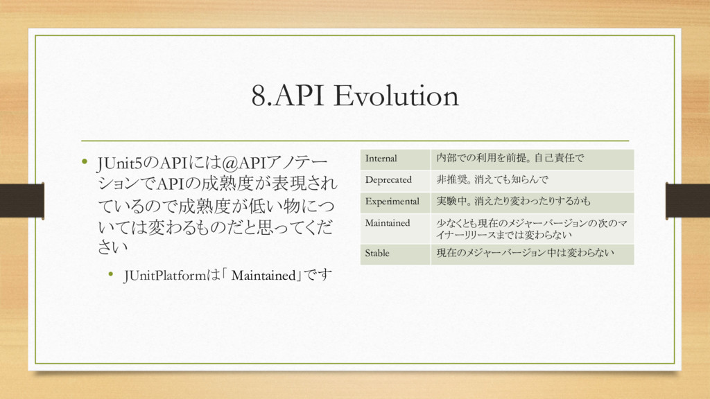 8.API Evolution • JUnit5のAPIには@APIアノテー ションでAPIの...