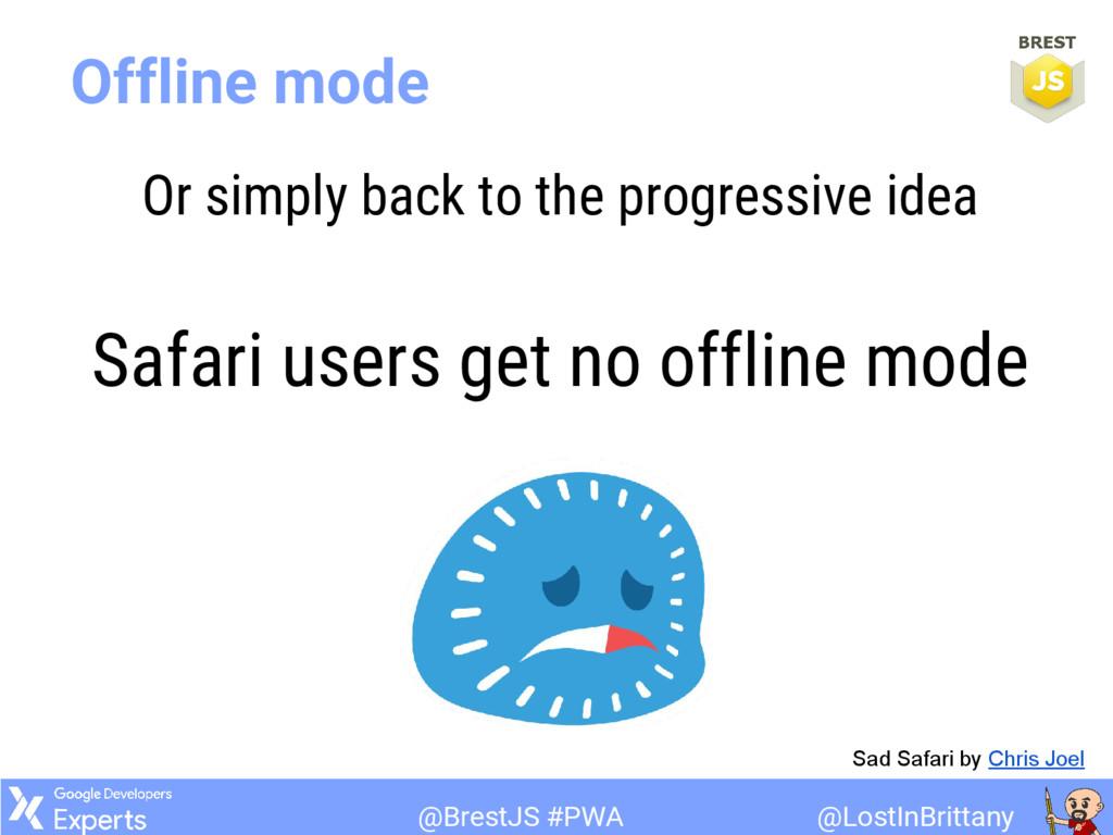 @LostInBrittany @BrestJS #PWA Offline mode Or s...