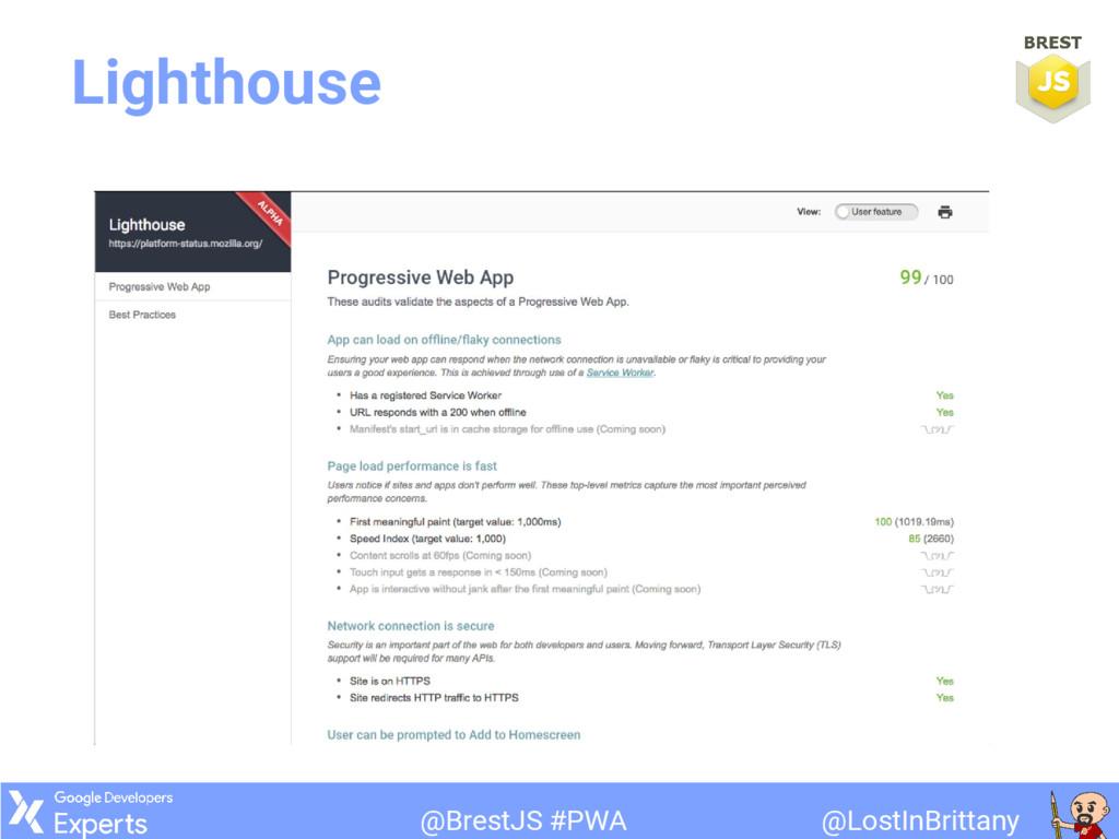 @LostInBrittany @BrestJS #PWA Lighthouse