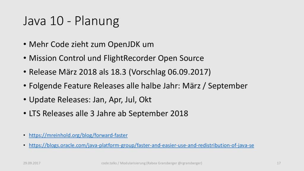 Java 10 - Planung • Mehr Code zieht zum OpenJDK...
