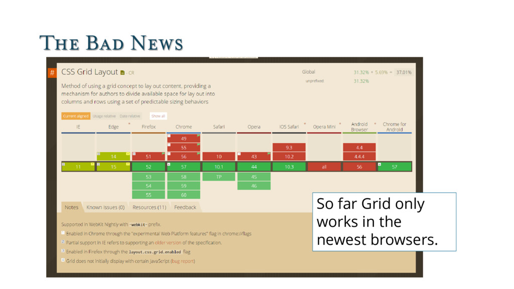 The Bad News So far Grid only works in the newe...