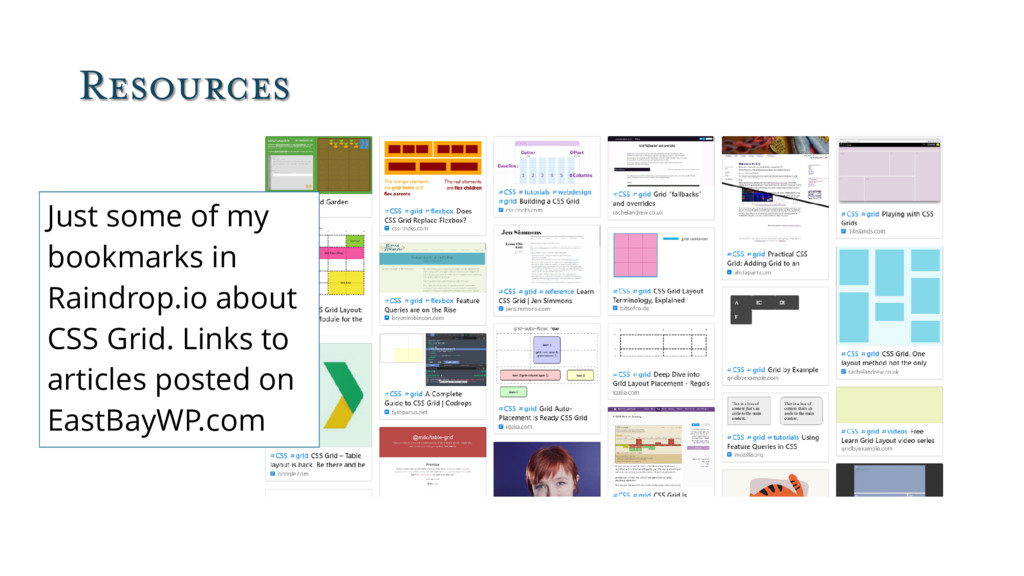 Resources Just some of my bookmarks in Raindrop...