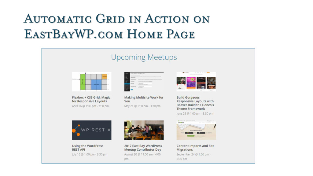 Automatic Grid in Action on EastBayWP.com Home ...