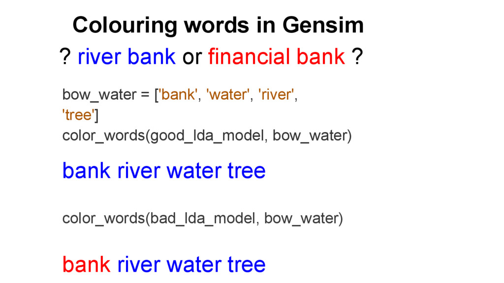 Colouring words in Gensim bow_water = ['bank', ...