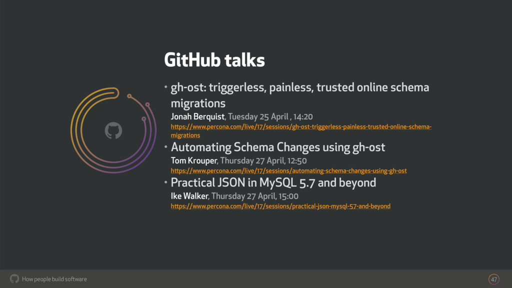 How people build software ! GitHub talks • gh-o...