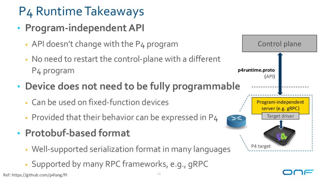 P4 Runtime Takeaways • Program-independent API ...
