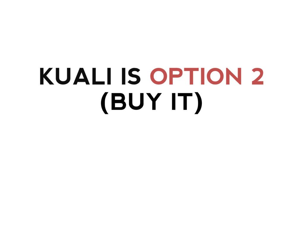 KUALI IS OPTION 2 (BUY IT)
