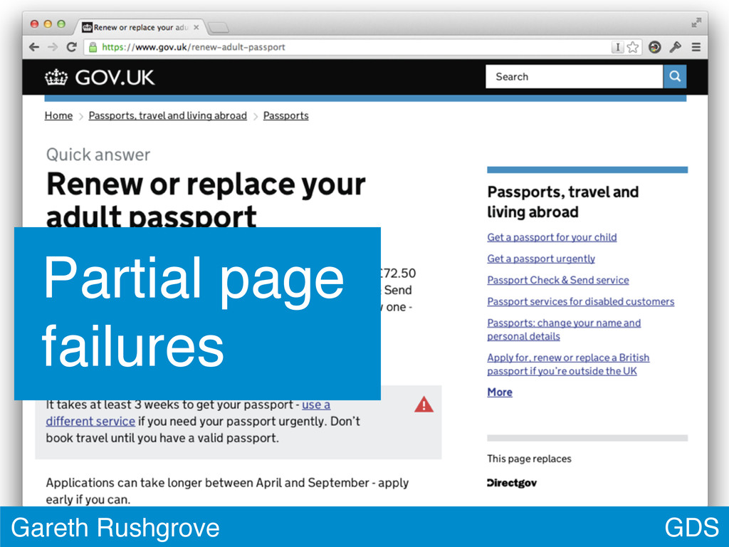 GDS Gareth Rushgrove Partial page failures