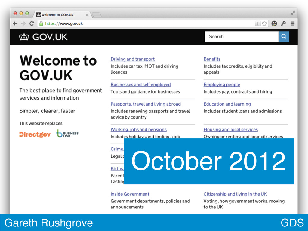 GDS Gareth Rushgrove October 2012