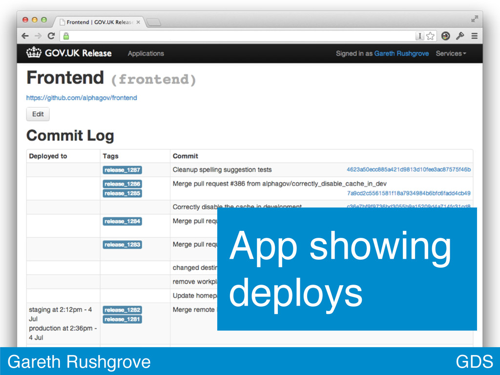 GDS Gareth Rushgrove App showing deploys