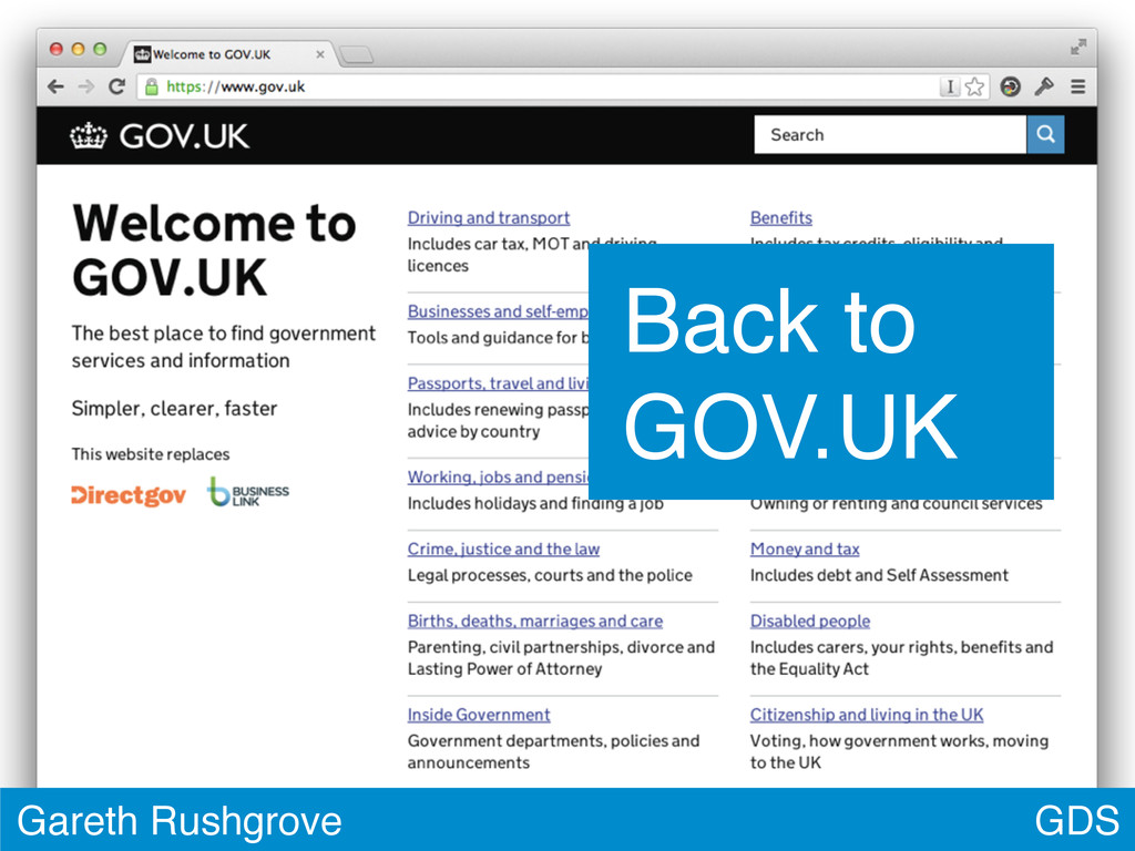 GDS Gareth Rushgrove Back to GOV.UK