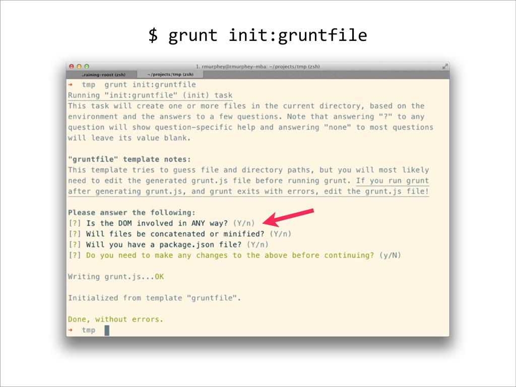 $ grunt init:gruntfile