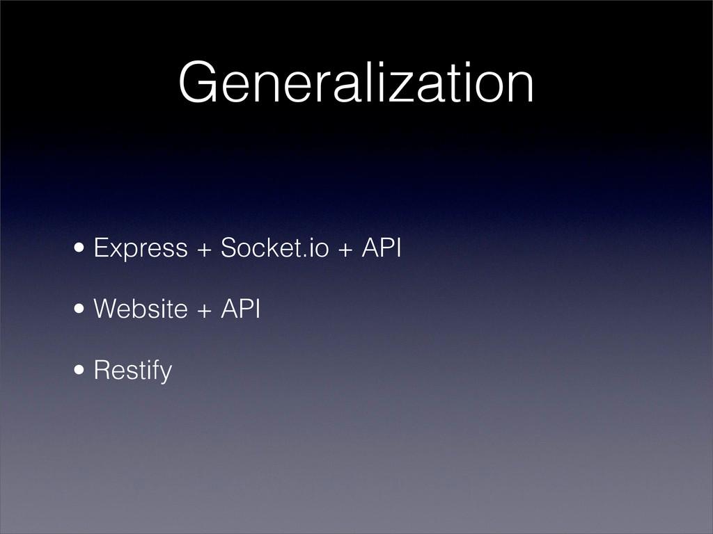 Generalization • Express + Socket.io + API • We...