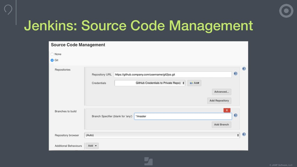 © JAMF Software, LLC Jenkins: Source Code Manag...