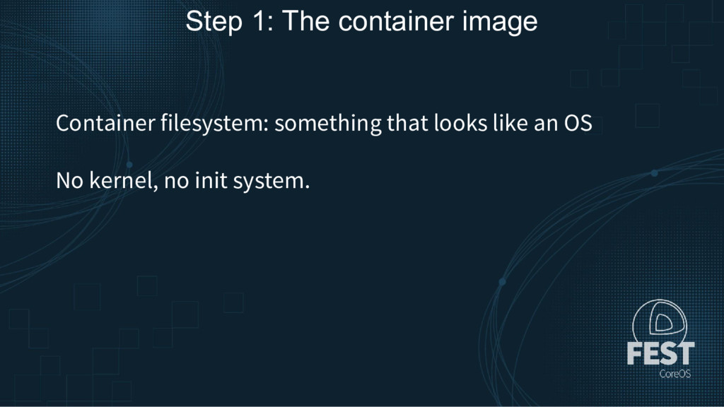 Step 1: The container image Container filesyste...