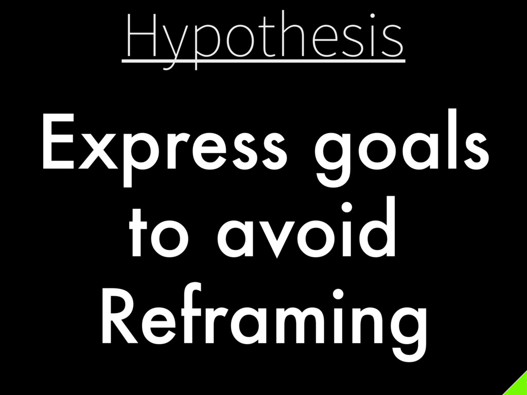 Hypothesis Express goals to avoid Reframing