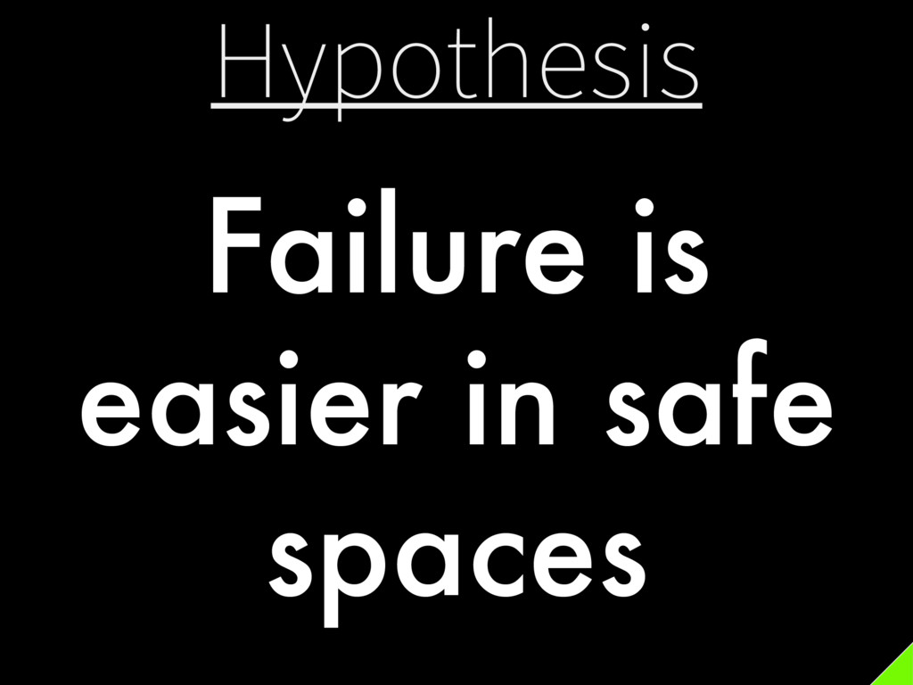 Hypothesis Failure is easier in safe spaces