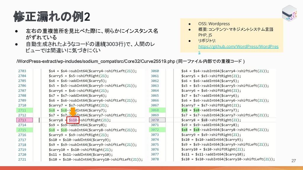 修正漏れ 例2 ● OSS: Wordpress ● 概要: コンテンツ・マネジメントシステム...