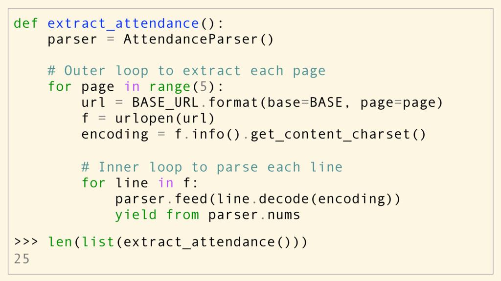 def extract_attendance(): parser = AttendancePa...