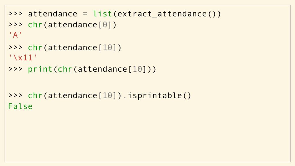 >>> attendance = list(extract_attendance()) >>>...