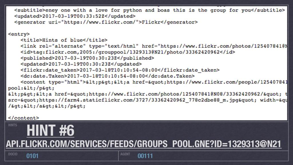 HINTS DOCID AGENT 0101 00111 HINT #6 API.FLICKR...