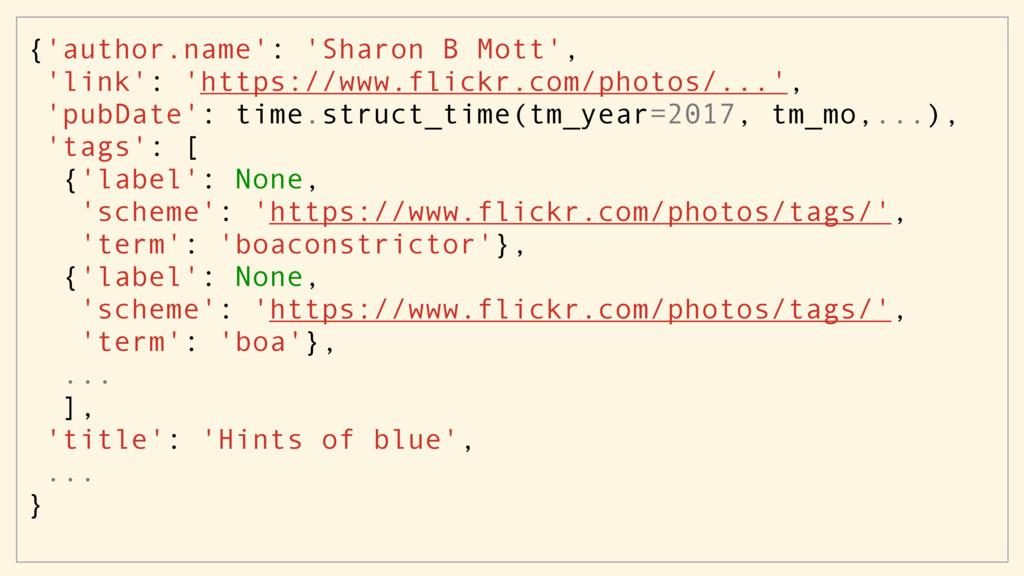 {'author.name': 'Sharon B Mott', 'link': 'https...