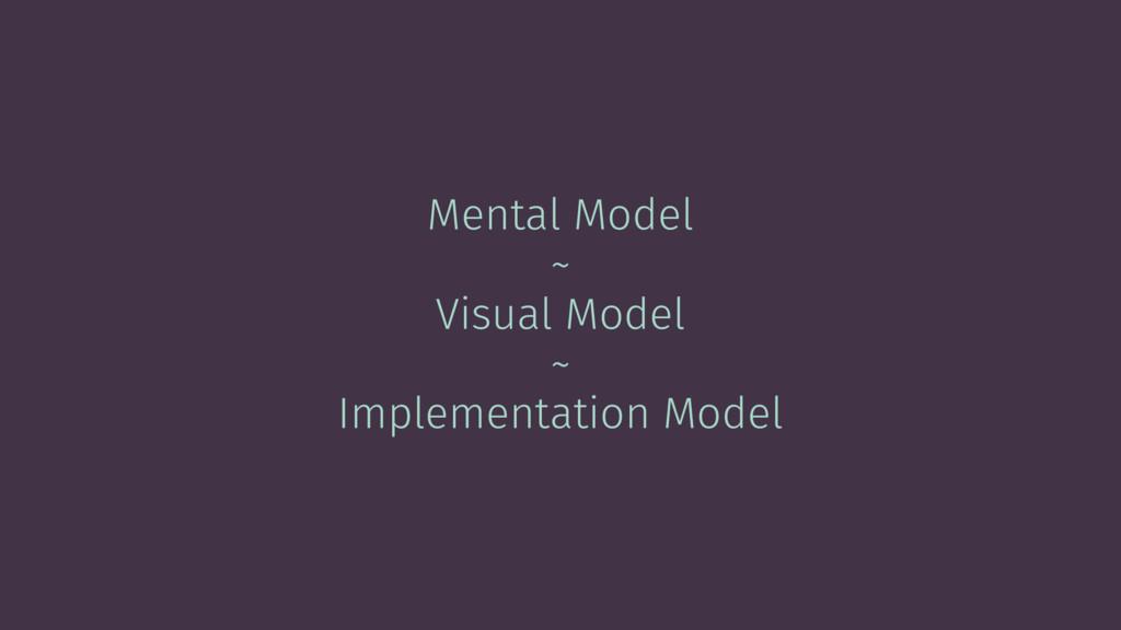 Mental Model ~ Visual Model ~ Implementation Mo...