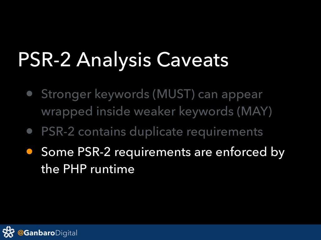 @GanbaroDigital PSR-2 Analysis Caveats • Strong...