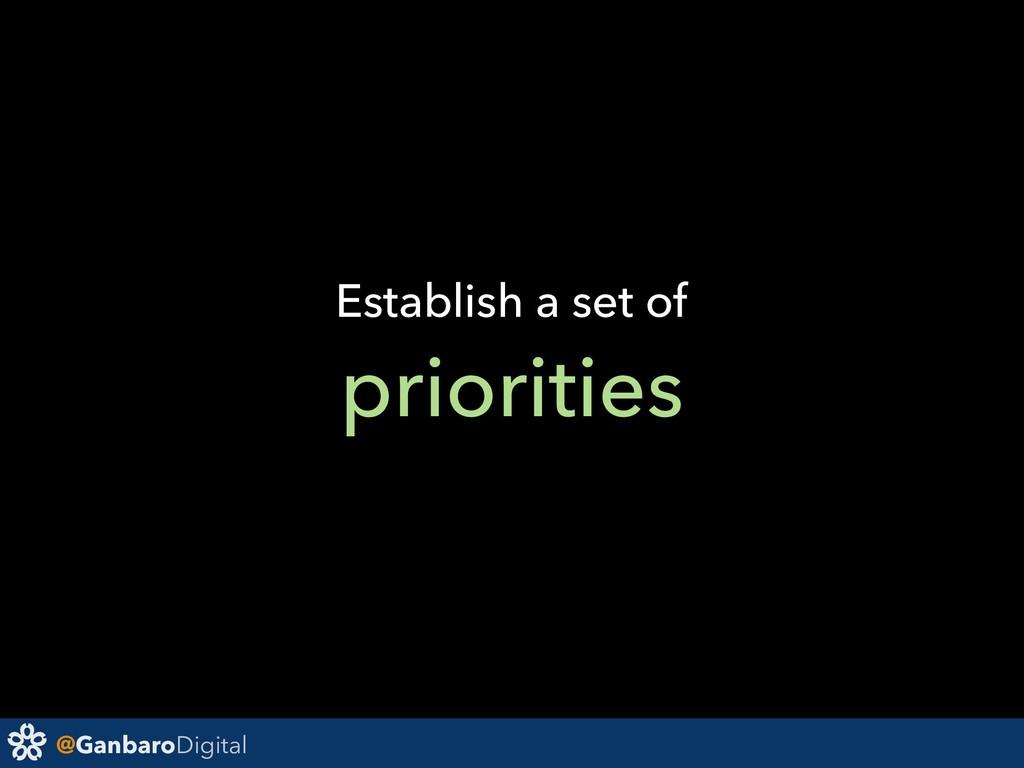 @GanbaroDigital Establish a set of priorities