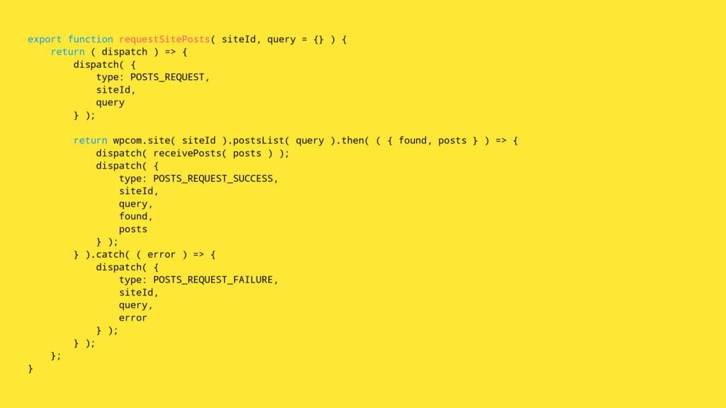 export function requestSitePosts( siteId, query...