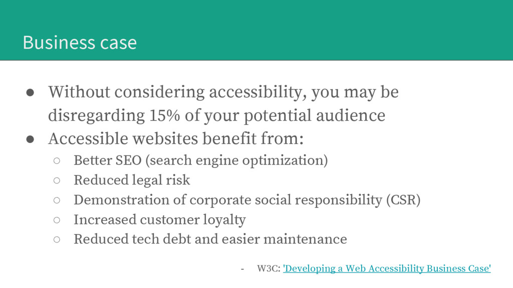 Business case ● Without considering accessibili...