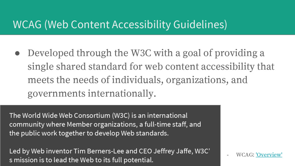 WCAG (Web Content Accessibility Guidelines) ● D...