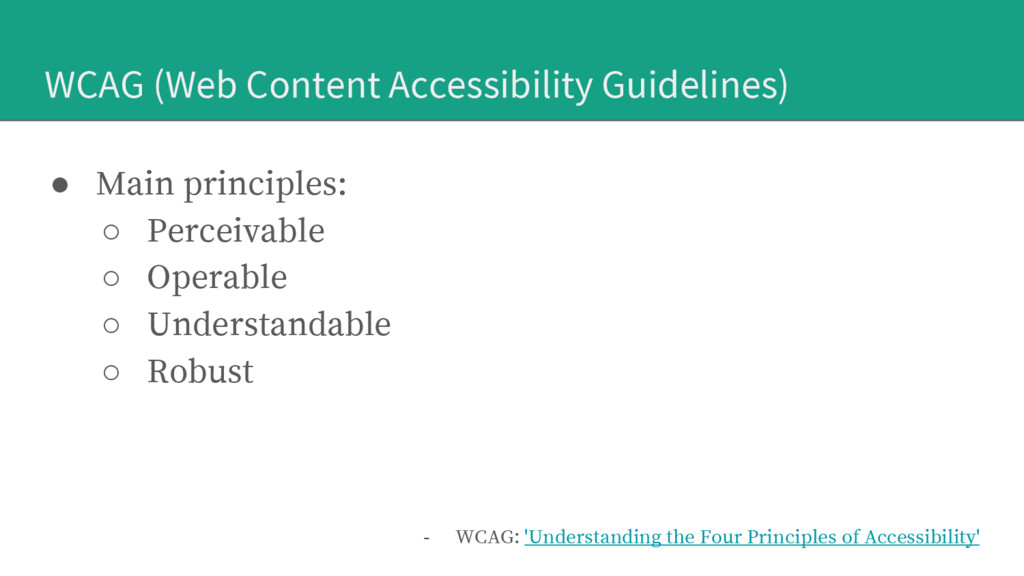 WCAG (Web Content Accessibility Guidelines) ● M...