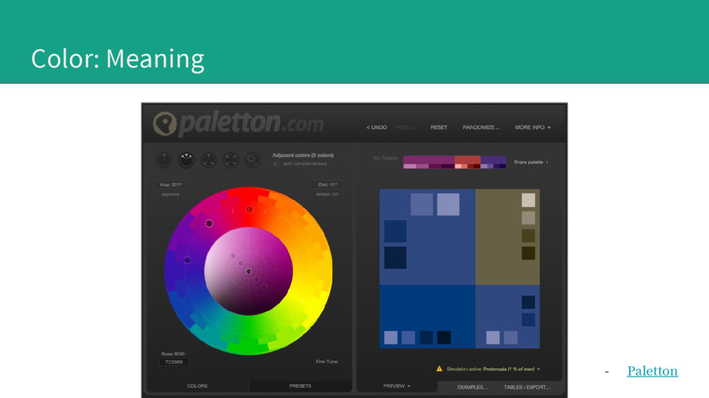 Color: Meaning - Paletton