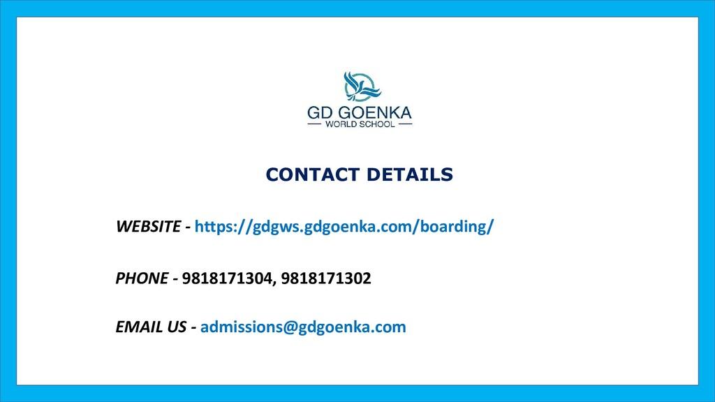 WEBSITE - https://gdgws.gdgoenka.com/boarding/ ...