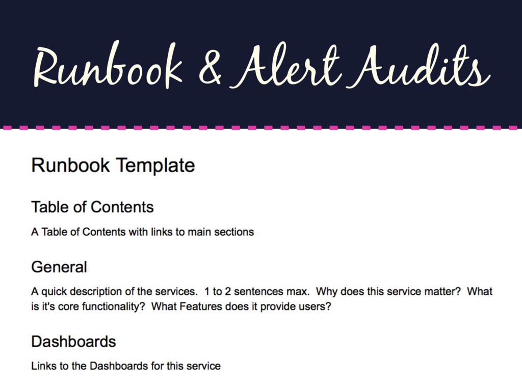 Runbook & Alert Audits