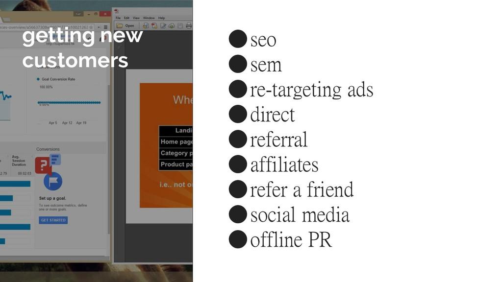 getting new customers ●seo ●sem ●re-targeting a...