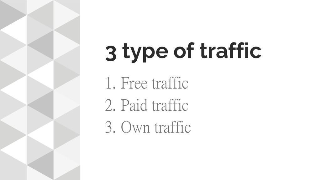 3 type of traffic 1. Free traffic 2. Paid traff...