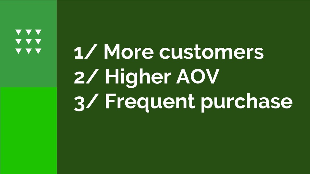 1/ More customers 2/ Higher AOV 3/ Frequent pur...