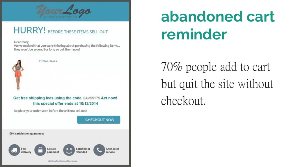 abandoned cart reminder 70% people add to cart ...