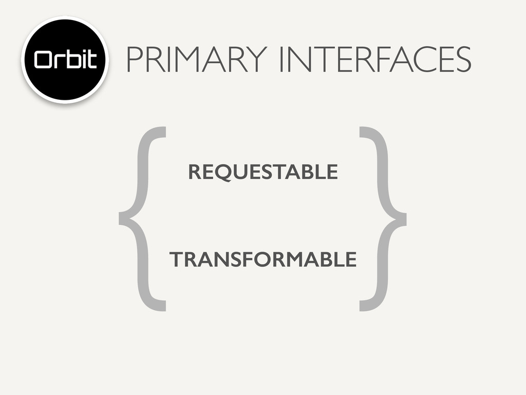 PRIMARY INTERFACES { } REQUESTABLE TRANSFORMABLE