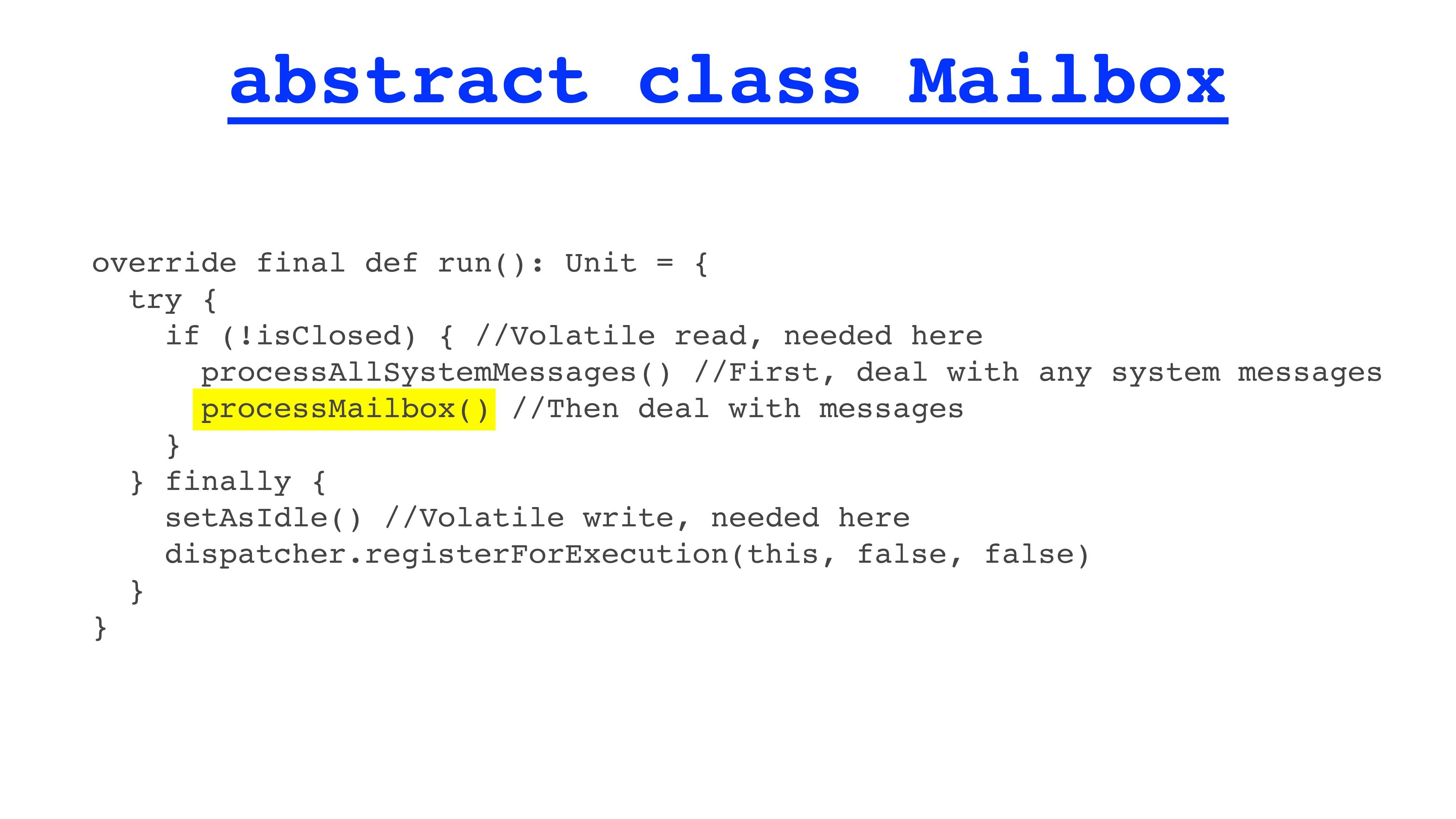 abstract class Mailbox override final def run()...