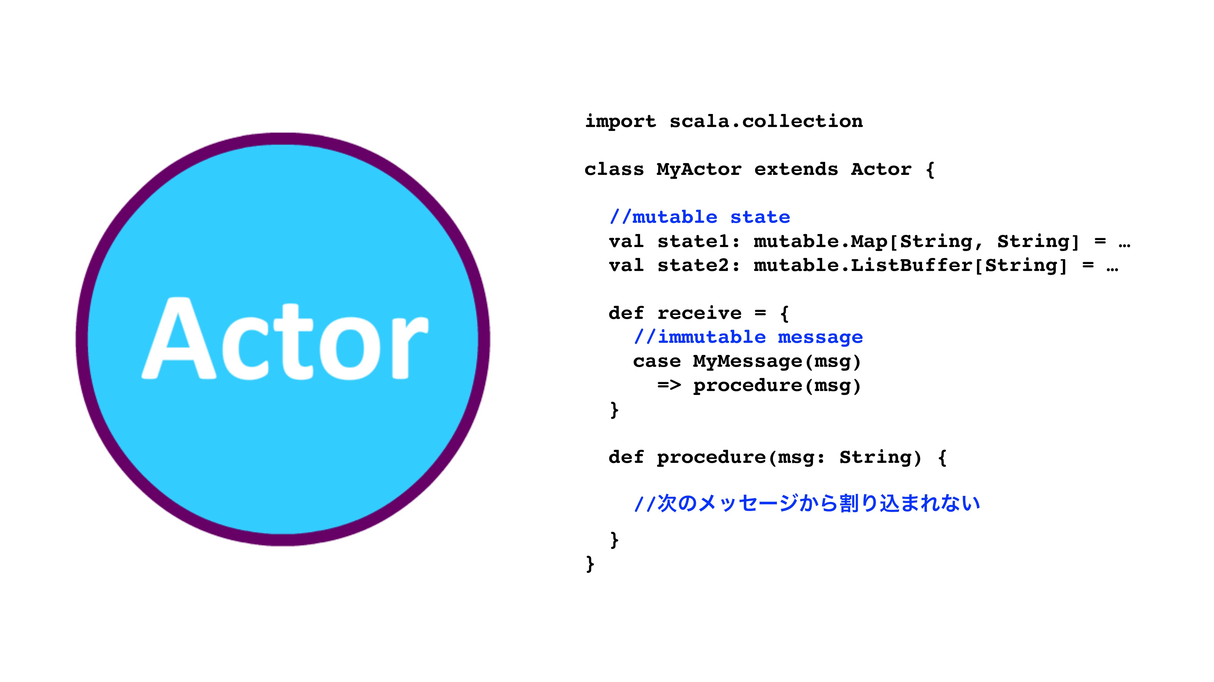 import scala.collection class MyActor extends A...