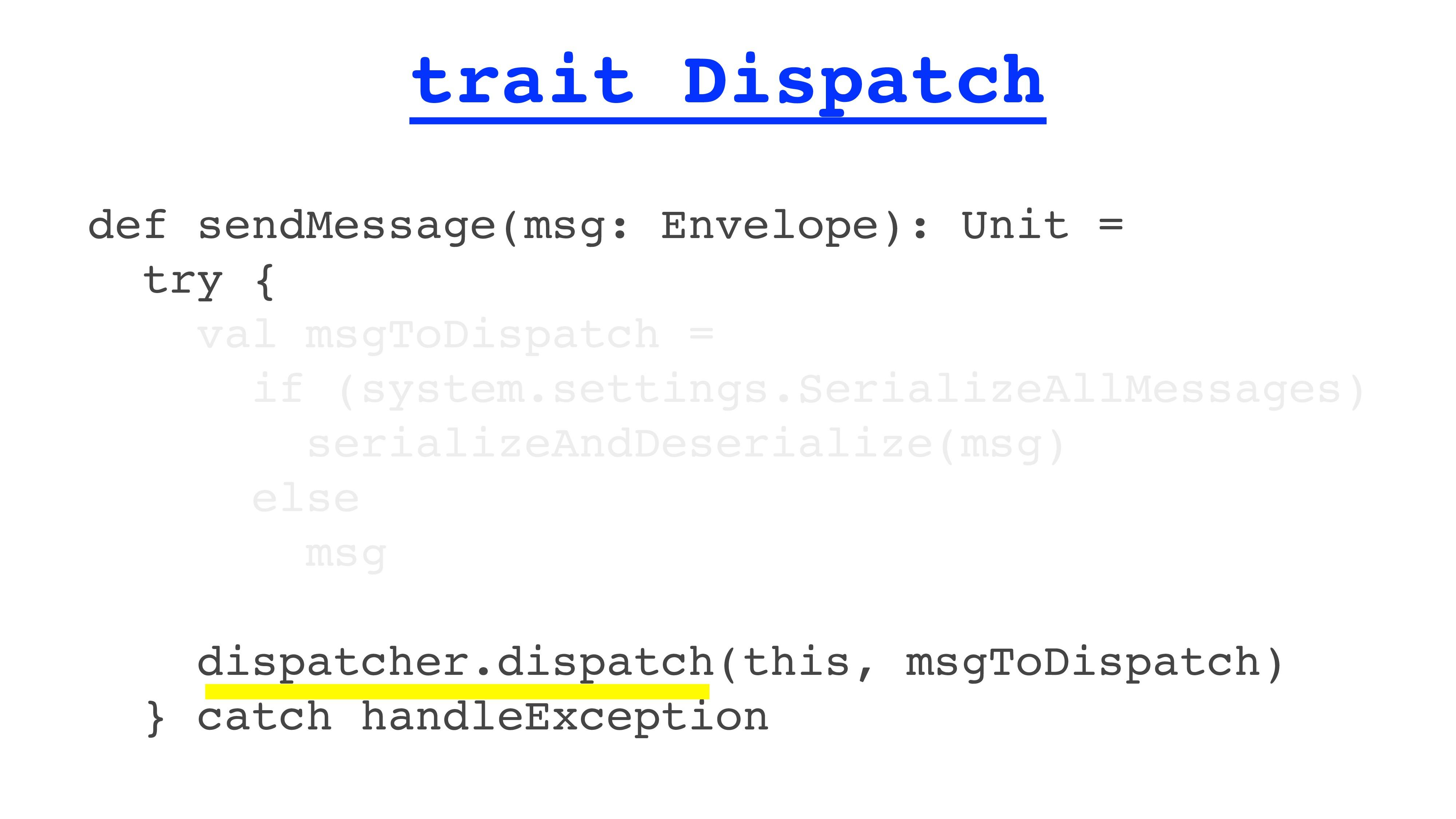 trait Dispatch def sendMessage(msg: Envelope): ...