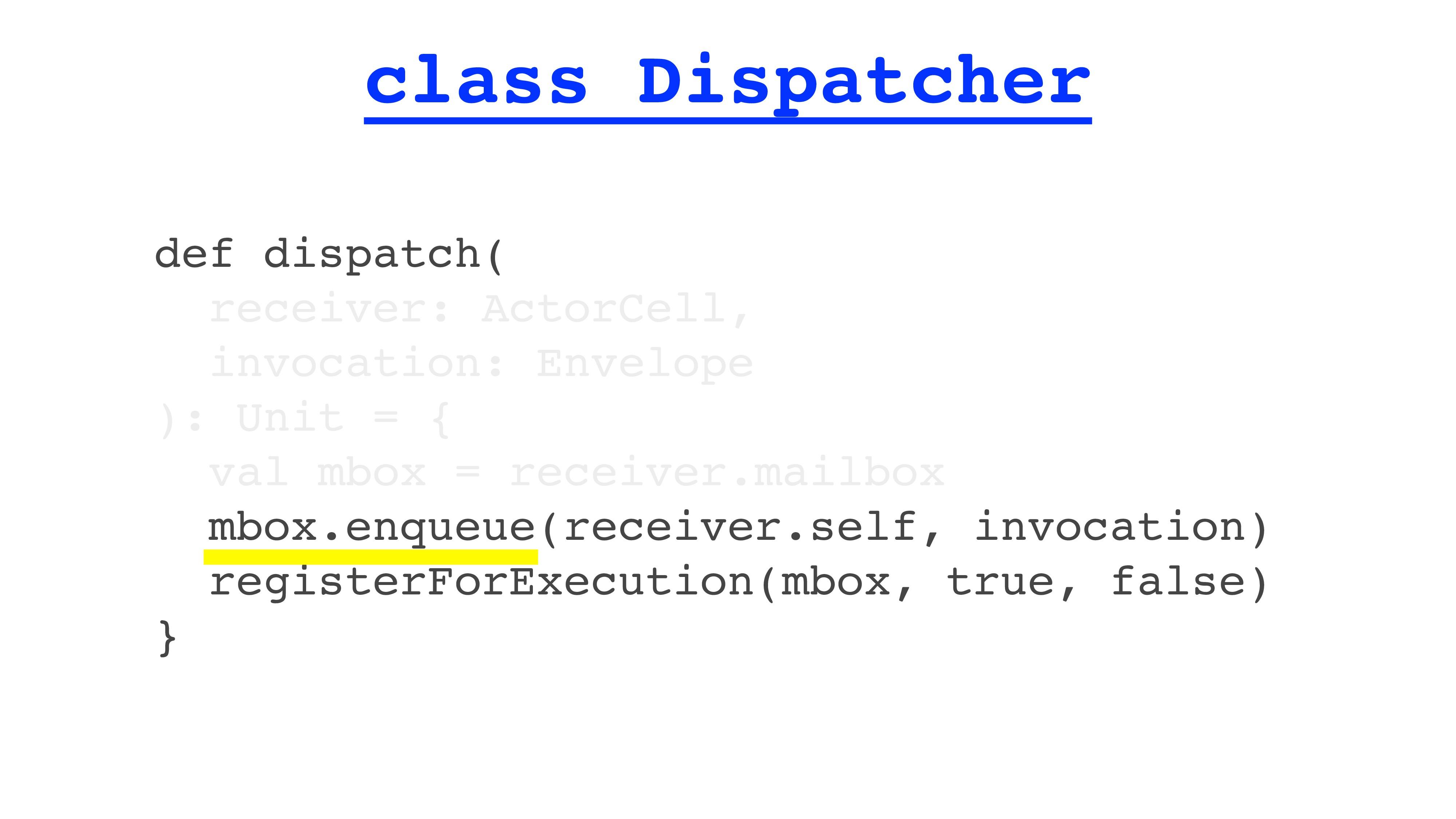 class Dispatcher def dispatch( receiver: ActorC...