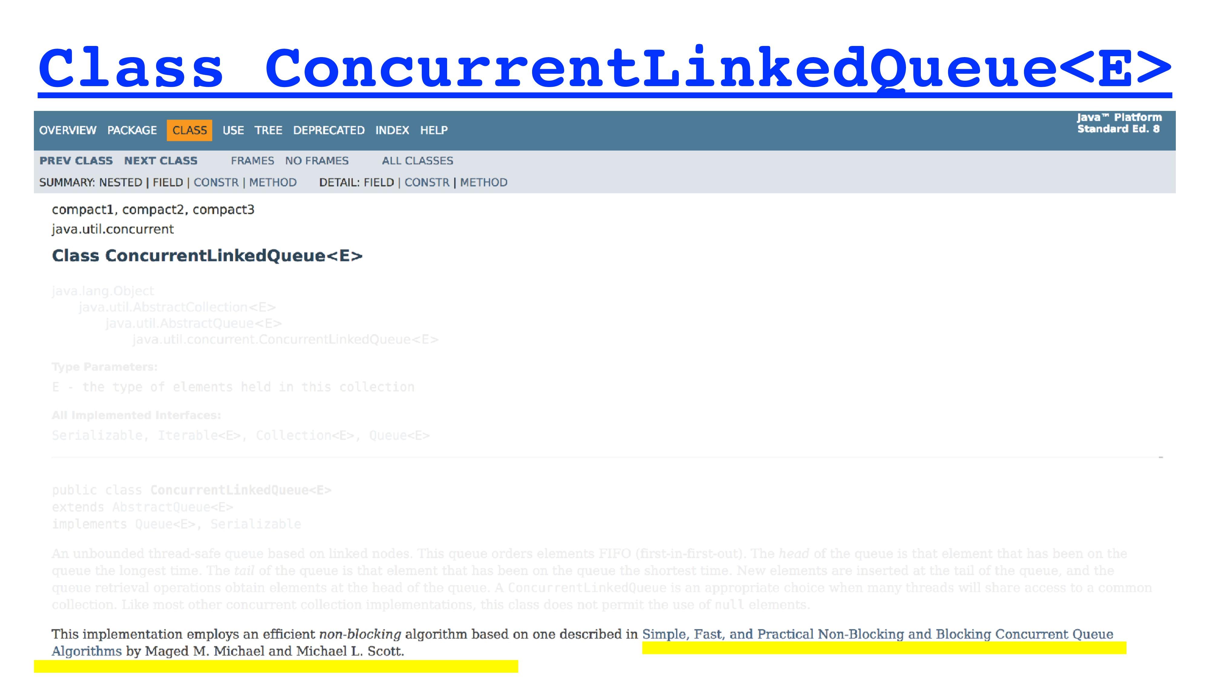 Class ConcurrentLinkedQueue<E>