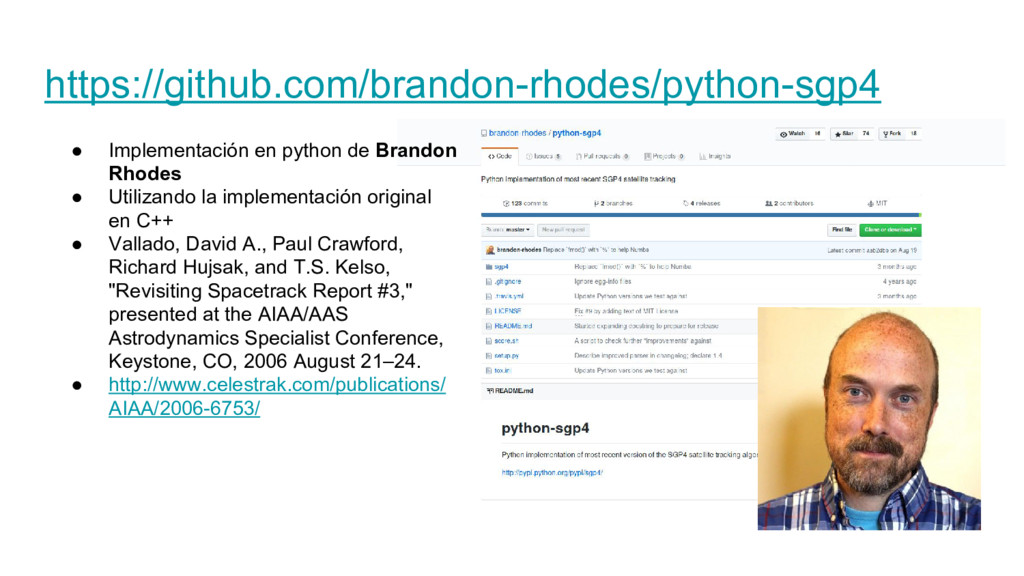 https://github.com/brandon-rhodes/python-sgp4 ●...