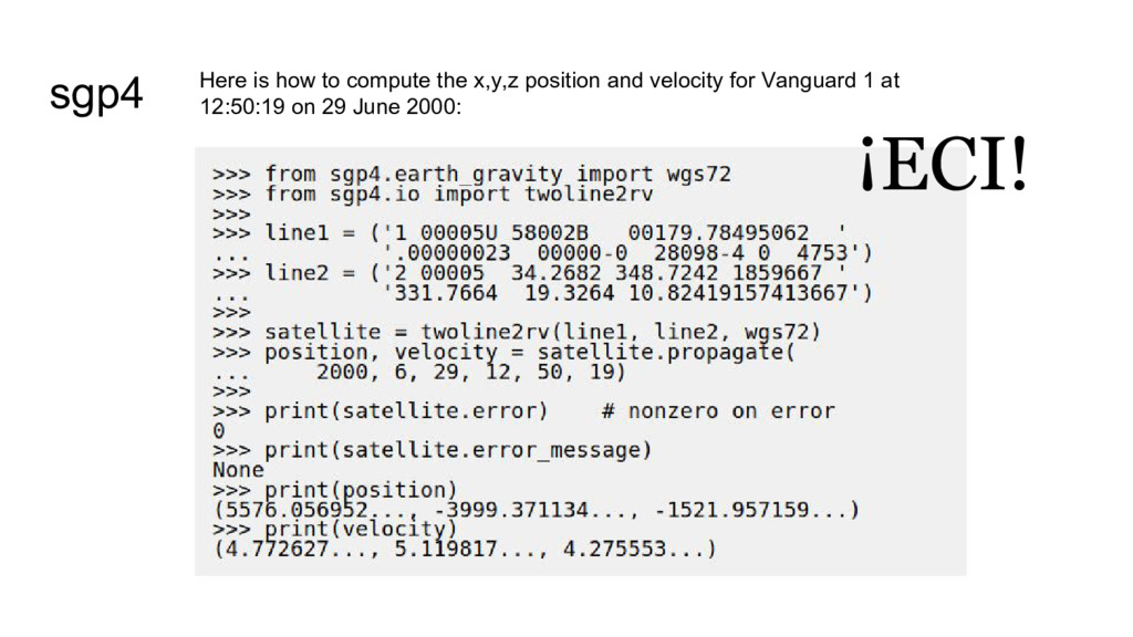 sgp4 Here is how to compute the x,y,z position ...
